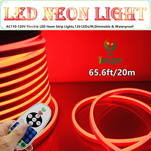 LED NEON LIGHT, IEKOV™ AC 110-120V Flexible LED Neon Strip Lights, 120 LEDs/M, Dimmable, Waterproof 2835 SMD LED Rope Light + Remote Controller for Home Decoration (65.6ft/20m, Red) by IEKOV