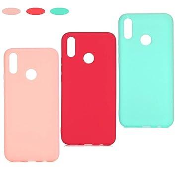 MUSESHOP 3 x Funda Huawei P Smart Plus, Caja del teléfono Color Caramelo TPU Carcasa Ultrafina Delgado Flexible Suave TPU Silicona Case Cover para ...