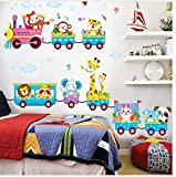 Cartoon Animal Car Kids Boy Rooms Decoration Wall Stickers DIY Children Baby Bedroom Home Decor Decals Poster Stikers