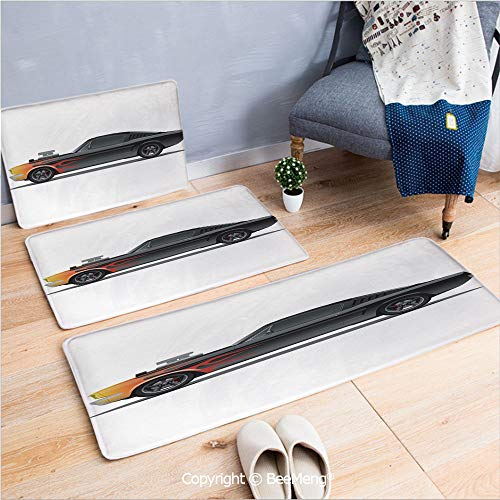 3 Piece Indoor Modern Anti-skid carpet Printed block bathroom carpet,Cars,Custom Design Muscle Car with Supercharger and Flames Roadster Retro Styled Decorative,Black Orange Red,20x31/20x59/28x55 inch