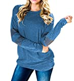 Yeyemet Womens Petite Sweatshirts Pullover Style Long Sleeve Shirts Vintage Tops Comfortable Banded Hem Round Neck Loose Fitting Boutique Clothing