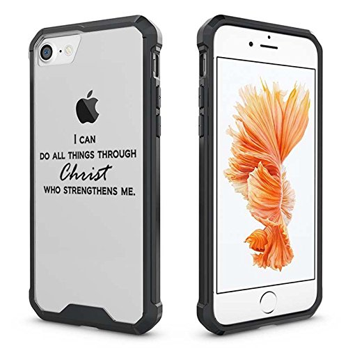 For Apple iPhone Clear Shockproof Bumper Case Hard Cover I Can Do All Things Through Christ Who Strengthens Me (Black For iPhone 6 / 6s)