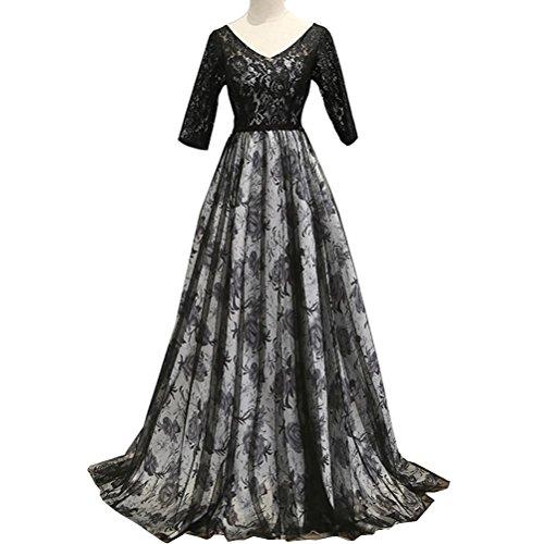 maniche Sera Da 3 Intera da Black Abito donna Stampa 2 Maxi Elegante Tulle Pizzo da Vestiti ballo Lunghezza qHwxfa0