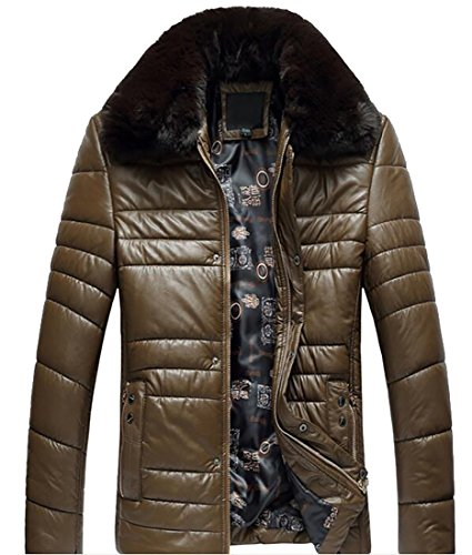 today-UK Men Winter Warm Pu Faux Fur Collar Quilted Down Jacket Coat Khaki