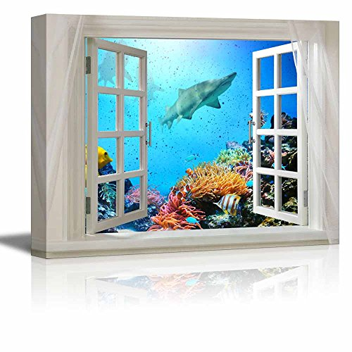 Glimpse into Deep Sea View of Coral and Sharks out of Open Window Wall Decor ation