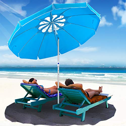 (MOVTOTOP 6.5ft Beach Umbrella with Tilt Aluminum Pole and UPF 100+, Flower Vents Design and Portable Sun Shelter for Sand and Outdoor Activities, Carry Bag and Sand Anchor Included)
