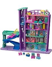 Polly Pocket Pollyville Le Centre Commercial, voiture, 2 mini-figurines Polly et Lila, accessoires et autocollants, jouet enfant, GFP89