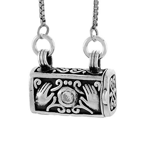 Sterling Silver Prayer Box Necklace Purse Shape Hamsa and CZ Stone Motif, 3/8 inch (Motif Wax Seal)