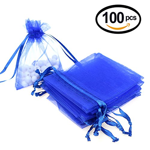 Lalago 100 Pcs Organza Wedding Favour Bags Gift Mini Jewelry Bags (Sapphire blue)