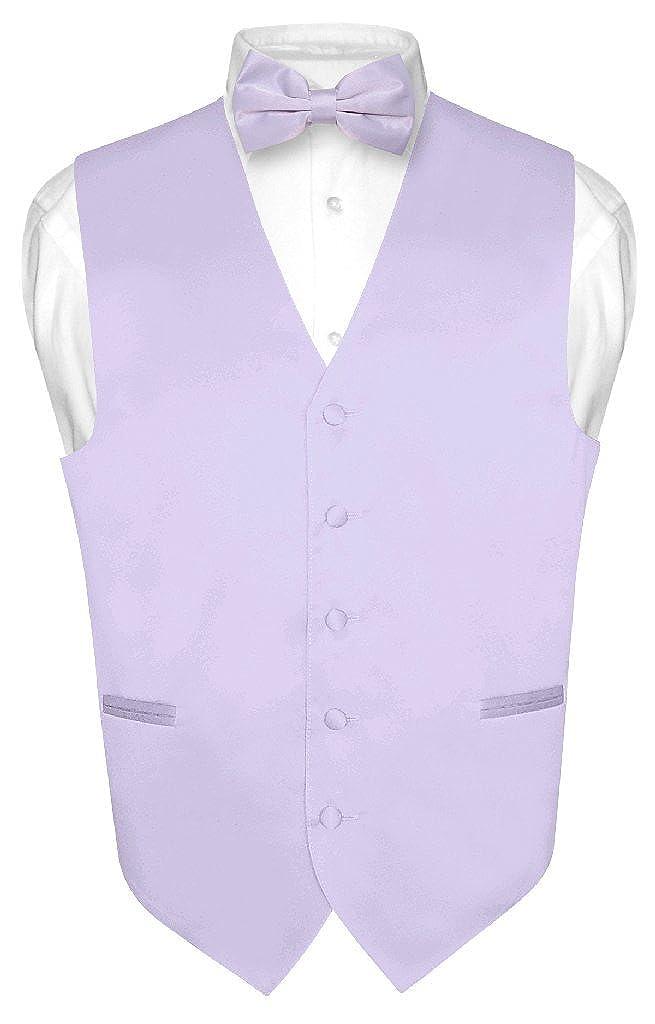 Mens Dress Vest /& Bowtie Solid Lavender Purple Color Bow Tie Set for Suit Tux