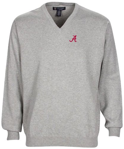 Oxford NCAA Alabama Crimson Tide Men's Solid Vee Neck Sweater, Lieutenant Grey Heather, X-Large by Oxford