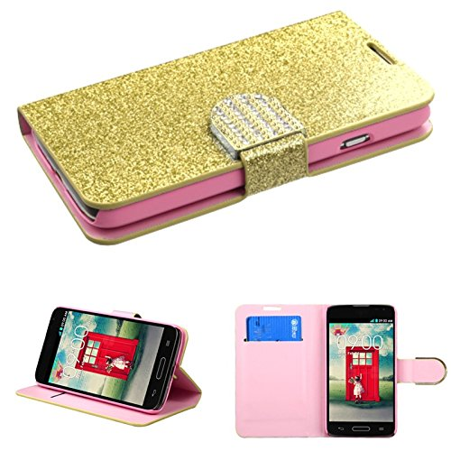 Asmyna Glittering MyJacket with Diamante Belt for LG Optimus L70 - Retail Packaging - Gold