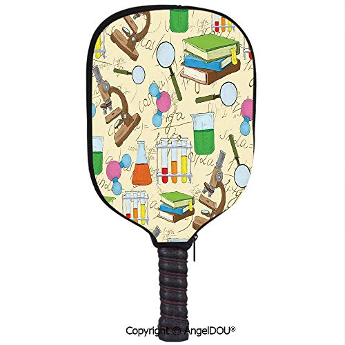 AngelDOU Kids Room Decor Lightweight Neoprene Durable Pickleball Paddle Cover Science Education Lab Sketch Books Equation Loupe Microscope Molecule Flask Holder Sleeve Case Protector.Multicolor