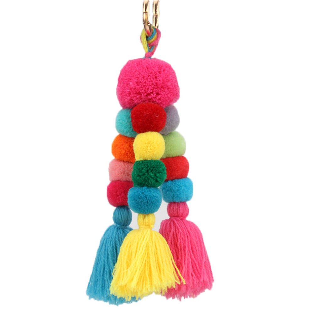 Gliterstar Colorful Bohemian Pom Pom Tassel Bag Charm Keychain Car Accessories for Women (Style E)