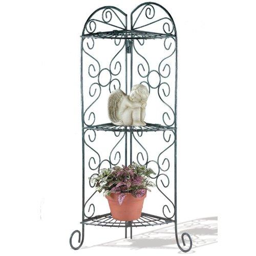 Verdigris Three-Shelf Corner Plant/Display Stand ()