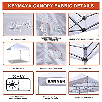 Keymaya 10 x10 Ez Pop-up Canopy Tent Commercial Instant Shelter Bonus Weight Bag 4-pc Pack, 10×10, A1 White