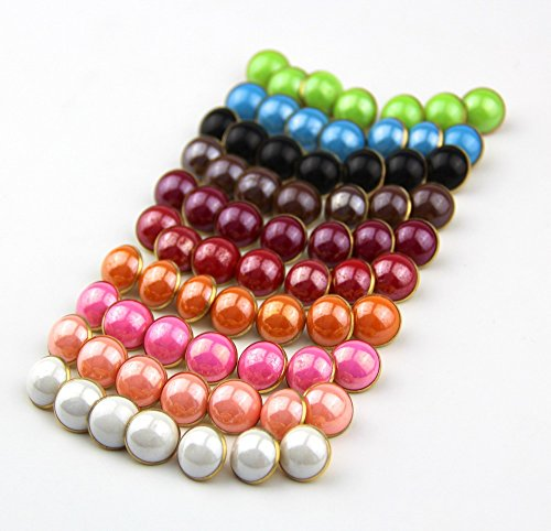 25Pcs Pearl Half Resin Dome Cap Copper Base Crafting Sewing Diy Buttons-13Mm^Copper.