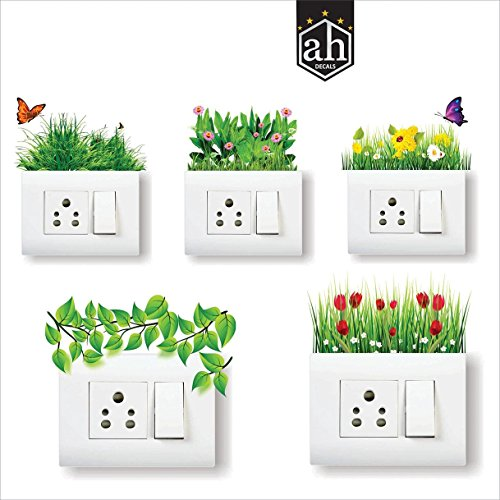 AH Decals Home Décor Elegant Grass Colorful Flowers Butterfly Amazing Wall Stickers for Switch...