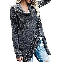 BIUBIU Womens Fall Long Sleeve Tassels Slash Hem Loose Sweater Poncho Cardigans