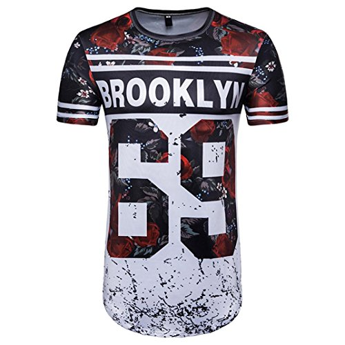 Price comparison product image ManxiVoo 2018 Men Summer Football World Cup T-Shirt 3D 62 69 Letter Print Short Sleeve Tops Soft O-Neck Blouse (XXL,  Multicolor-B)