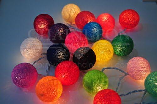 Guirnalda de luces LED, bolas de algodón multicolor, la case de, interior, decoración del dormitorio, colores: Amazon.es: Iluminación