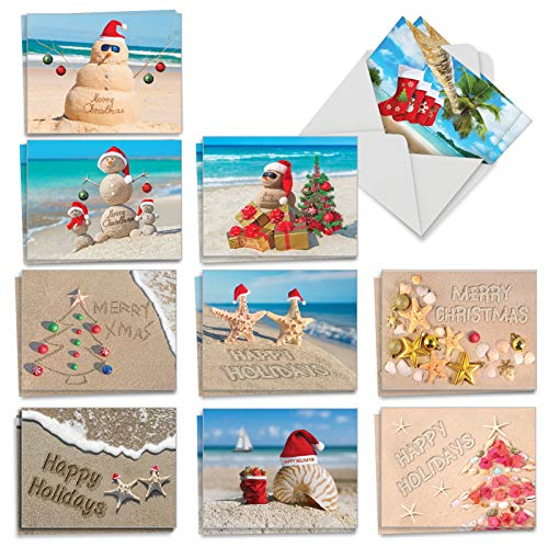 Season's Beachin - 20 Beach Merry Christmas Cards with Envelopes (4 x 5.12 Inch) - Assorted Ocean Beach Vacation - Boxed Xmas Holiday Notecard Set for Kids (10 Designs, 2 Cards Each) AM6651XSG-B2x10 (Christmas Environmental Cards)