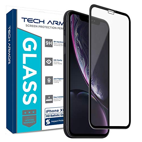Tech Armor Apple iPhone Xr Edge to Edge Glass Screen Protector [1-Pack] Case-Friendly, Scratch Resistant, Haptic Touch Accurate Designed for New 2018 Apple iPhone Xr