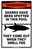 Sharks In The Pool Tin Sign 12 x 18in