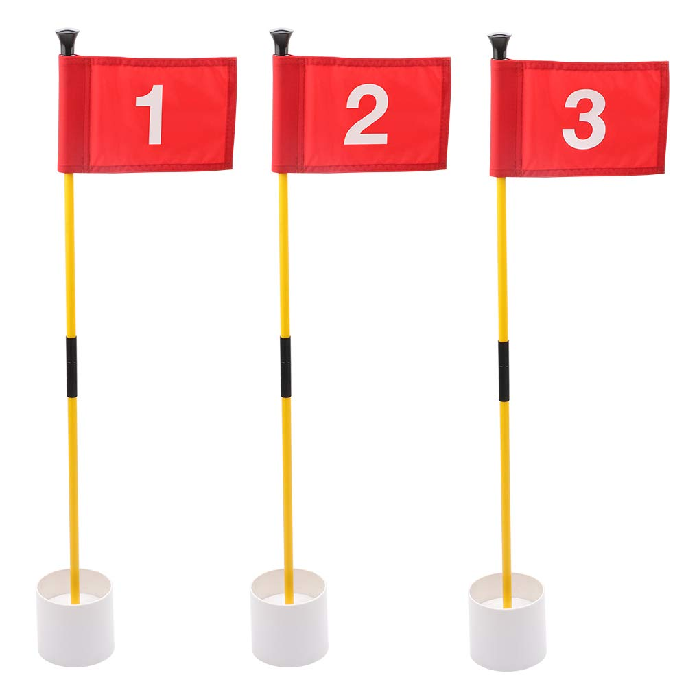 KINGTOP Practice Putting Green Flagstick, Portable Golf Pin Flags, 2-Section Design, Indoor/Outdoor, Triple-Pack, Solid Red Flag, White Numbered #1, 2, and #3
