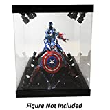 ELITE E-02 GLOSS BLACK 8 LED LIGHTED FIGURE STATUE DOLL DISPLAY CASE FOR MOST FIGURES UP TO 11'' INCHES TALL