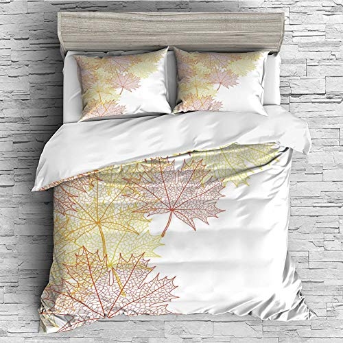 iPrint Home Luxury 4 Pieces Duvet Cover Bedding Sheet Set(Double Size) Leaves,Pattern with Maple Tree Fall Leaves Skeleton Dried Golden Forms Halloween Decoration Decorative,Red Yellow ()