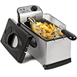 Andrew James Deep Fat Fryer | Food Grade Stainless Steel Large 3L Basket | Viewing Window & Temperature Control with Auto Shut-Off Safety Removable Handle & Cord Storage | Easy Clean & Dishwasher Safe
