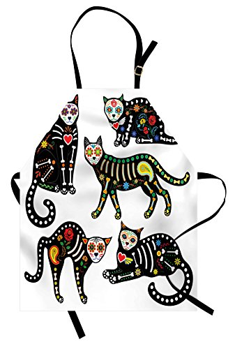 Ambesonne Sugar Skull Apron, Calavera Inspired Ornate Black Cats Mexican Style Holiday The Day of The Dead, Unisex Kitchen Bib Apron with Adjustable Neck for Cooking Baking Gardening, -