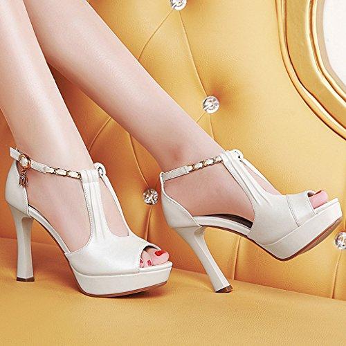 Helen Sandali femminile estate con tacchi alti scarpe singole impermeabili (bianco) ( dimensioni : 38 yards )