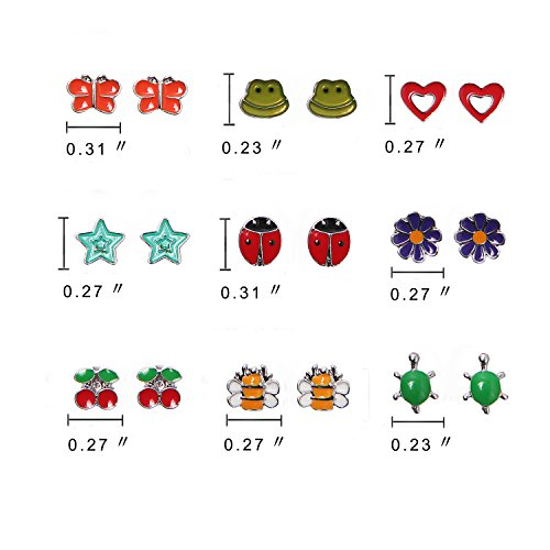 cc01a3f4d Unique Queen 9 Pairs Cute Fruit Animal Stainless Steel Stud Earring Sets  For Girls kids hypoallergenic