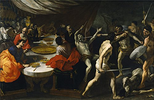 ['Lanfranco Giovanni Di Stefano Gladiadores En Un Banquete Ca. 1638 ' Oil Painting, 18 X 28 Inch / 46 X 71 Cm ,printed On Perfect Effect Canvas ,this Vivid Art Decorative Canvas Prints Is Perfectly Suitalbe For Garage Decor And Home Artwork And] (German Officer Hat Costume)