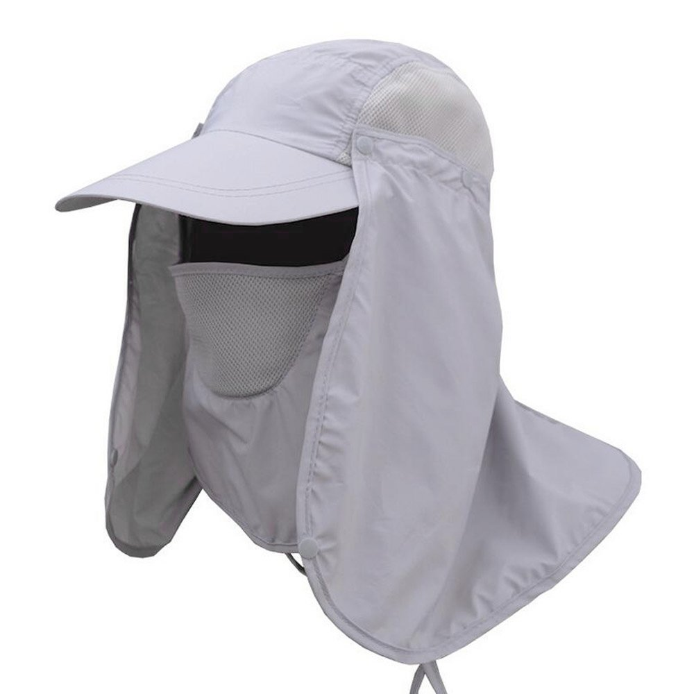 ULKEME Outdoor Sport Fishing Hiking Hat UV Sun Protection Neck Face Flap Cap Wide Brim(Light Gray)