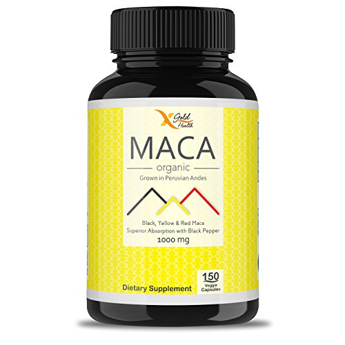 Organic Pure Maca Root Powder Capsules Black, Yellow, Red 1000mg per Serving Peruvian Maca for Men & Women, Superfood, Natural Energy Booster, Vegan Pills + Black Pepper for Best Absorption - GMO Free