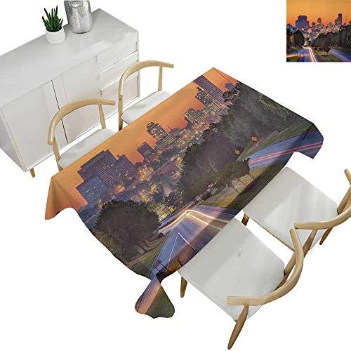 United States,Custom tablecloths Skyline of Columbia City South Carolina Main Street Urban Scene Table Cloth Cover Wedding Event Party Orange Dark Green Blue 54