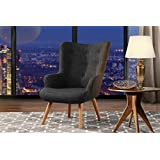 Accent Chair for Living Room, Upholstered Linen Arm Chairs with Tufted Button Detailing and Natural Wooden Legs (Dark Grey)
