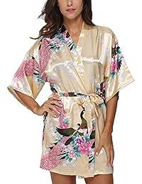 8174bbcdc657 Women s Short Kimono Robe Bathrobe with Peacock Patterns