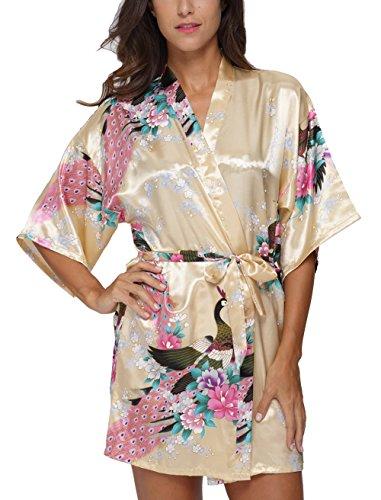 Original Kimono Women's Short Kimono Robe Bathrobe With Peacock Patterns Yellow M