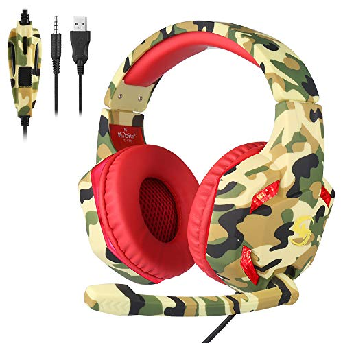 Docooler KUBITE T176 Gaming Headset 3.5mm+USB Plug Over-Ear Headphone with Adjustable Microphone Volume Control for PC…