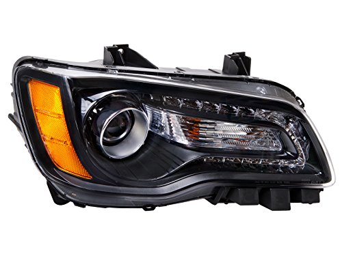 Assembly 300 Chrysler Headlight - HEADLIGHTSDEPOT Compatible with Chrysler 300 Black Halogen Type Passenger Headlight