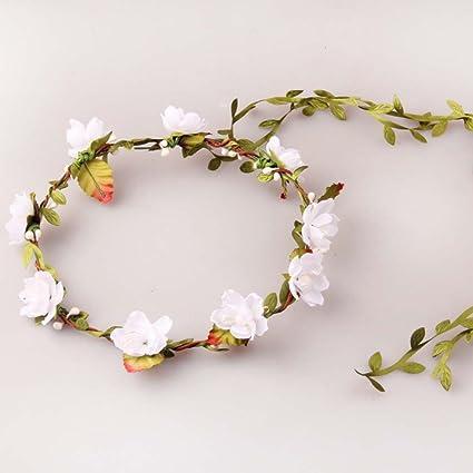 6d8a1139701 Simple Festival Artificial Silk Peach Cherry Blossom Flower Berries Headband  Halo Head Crown Floral Wreath Garland