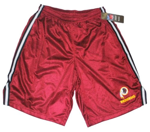 (Reebok Washington Redskins Maroon Black White Stripes Pocketed Mesh Shorts (S))