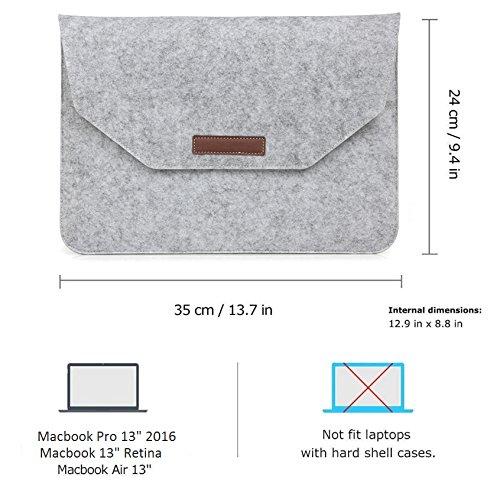 EJBOTH MacBook Pro 13 2016 [No para Macbook Pro 13 Retina] Funda & Bolso & Película, [ Funda duro de PC + Funda de fieltro + Protector de pantalla ] Para Modelo: A1706 & A1708 [Nueva Versión Oct. 201 Funda Oro rosa+Bolsa Gris claro