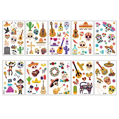 SUPVOX Halloween Temporary Tattoos for Kids (10 Sheets ), Halloween Sugar Skull Face Tattoo Kit Guitar Tattoo for Boys Girls Party Favor Supplies -