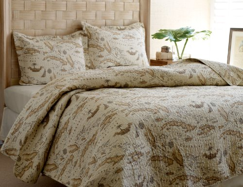 Tommy Bahama Map Quilt Set, - Hawaiian Bedding Print