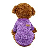 #8: Idepet Pet Dog Classic Knitwear Sweater,Fleece Coat for Small,Medium,Large Dog,Warm Pet Dog Cat Clothes,Soft Puppy Customes 2 Color (S, Purple)